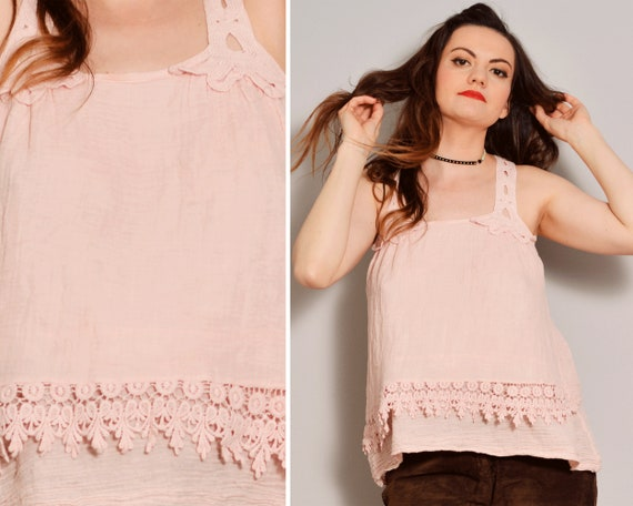 Pastel Pink Hippie Tank Top | Crochet Straps Racer