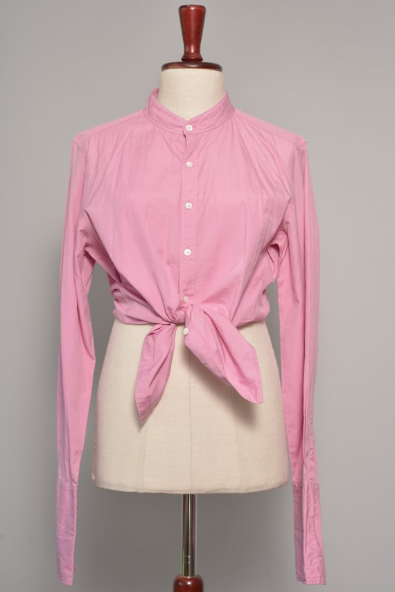 Pink High Neck Vintage Shirt | Long Cuff Sleeves … - image 3