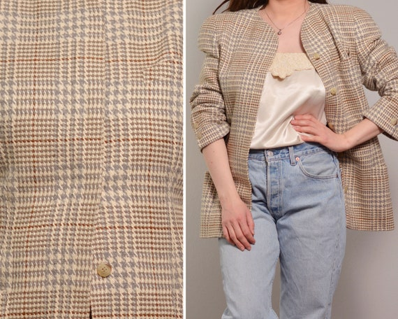 Houndstooth Pattern Mod Style Wool Blazer | Dogtoo