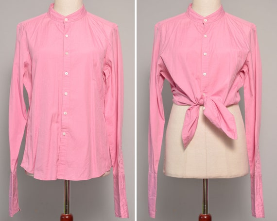 Pink High Neck Vintage Shirt | Long Cuff Sleeves F