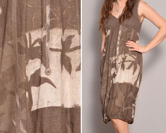 90s Bubble Dress Brown Dresses Graphic Print Bohem