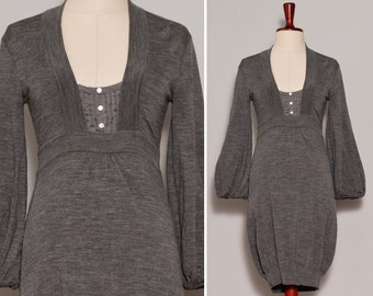 Grey Wool Blend Bubble Dress | Bishop Sleeve Stretchy Winter Dress | Double Neckline Cute Minimalist Dress | Extra Small