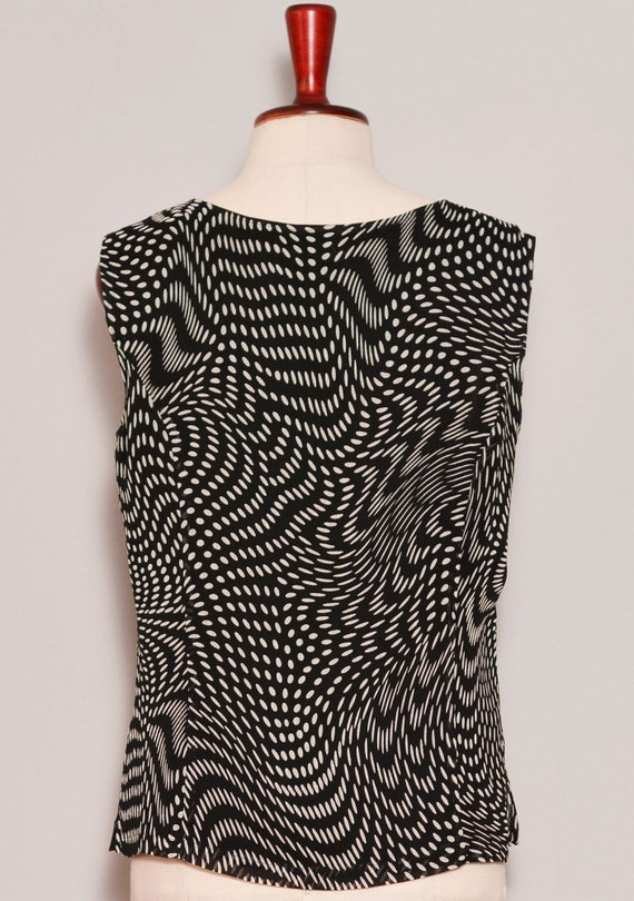 Black White Psychedelic Print Top Skirt Set - image 9