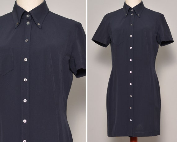Navy Blue Classic Fitted Shirt Dress | Sheath Silh