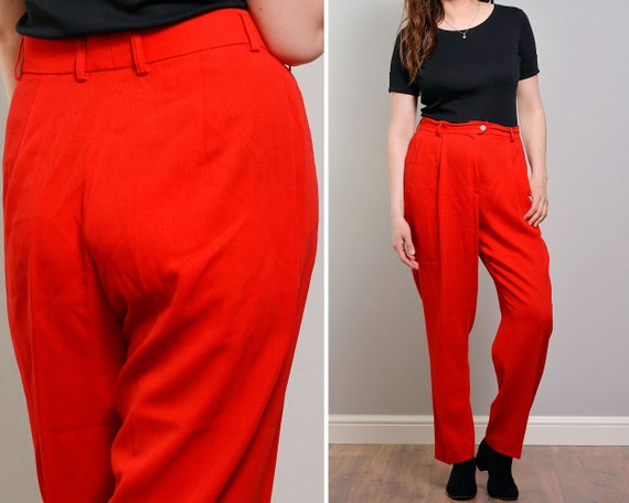 Hot Red High Waisted Slacks | Tapered Womans Suit