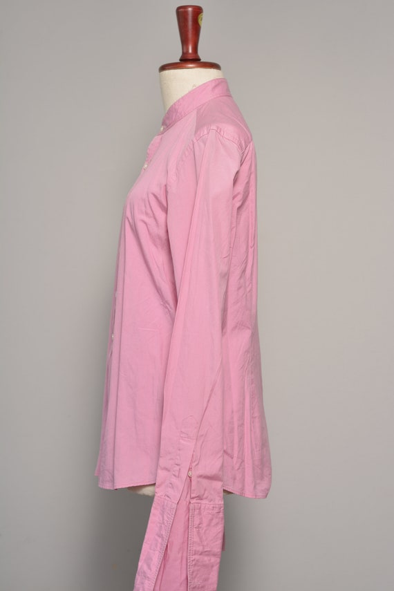Pink High Neck Vintage Shirt | Long Cuff Sleeves … - image 4