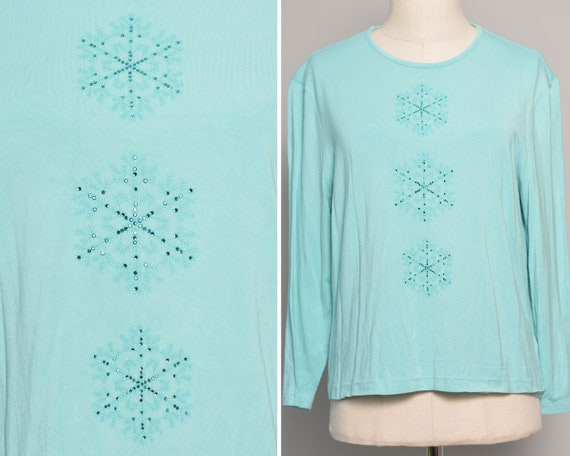 Snowflake Print Embellished Turquoise Blouse | Cos