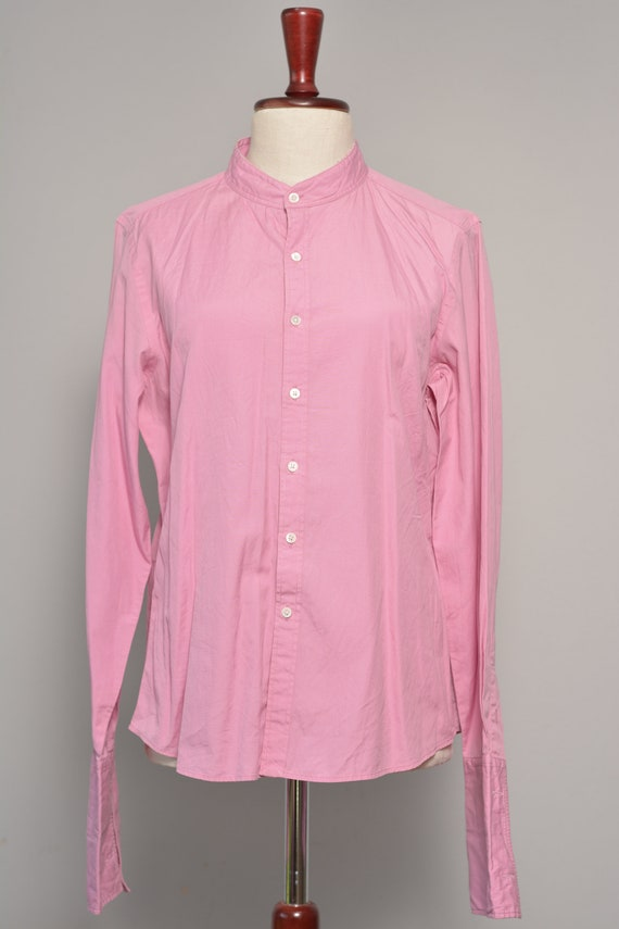 Pink High Neck Vintage Shirt | Long Cuff Sleeves … - image 2