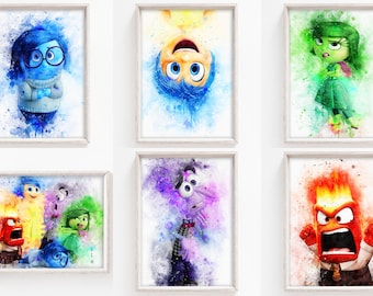 Inside Out Set of 6 Prints INSTANT DOWNLOAD Printable Set of 6 Nursery Room Wall Art Birthday Decor Party Poster