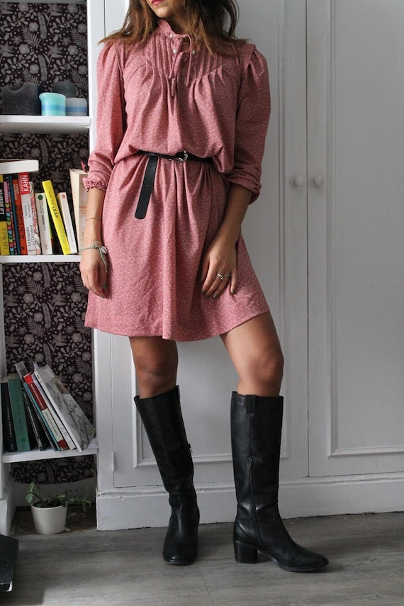 1980's Vintage pink dress, French style