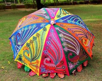 Handmade Patchwork Garden Umbrella Peacock Embroidery Beach Umbrella Beautiful Handcrafted Antique Decorative Sun Parasols Gorgeous Umbrella