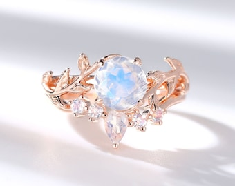 Vintage Moonstone engagement ring set leaf flower ring alternative ring rose gold ring art deco promise ring unique anniversary ring