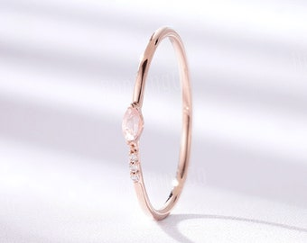 Vintage Rose Quartz wedding band, rose gold band, Marquise cut ring, Art deco dainty prong set ring, Unique Eternity ring, Anniversary ring