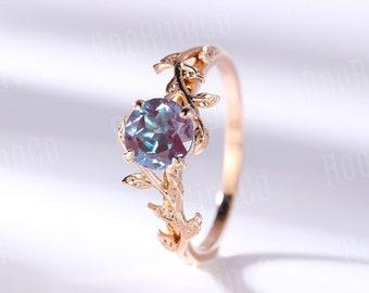 Vintage Alexandrite engagement ring leaf flower ring alternative ring rose gold ring art deco promise ring prong set unique anniversary ring