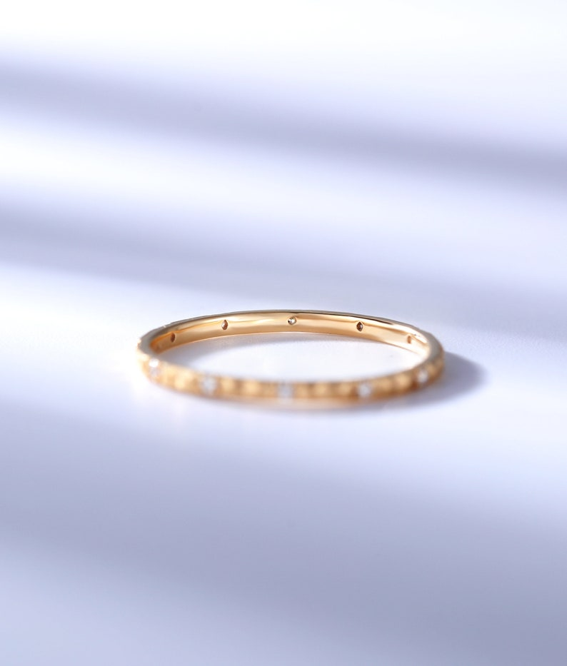 Dainty diamond wedding band for women14k  solid rose goldgold handmade art deco stacking matching band vintage anniversary gift for her