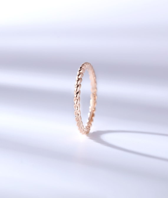 Unique Rose Gold Wedding Band Women Simple Ring Solid Gold Etsy