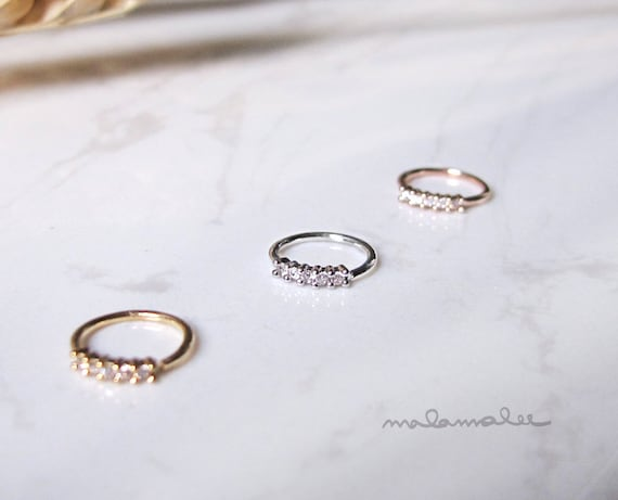 AAA Cubic Zirconia Gold  Rose Gold  Platinum Nose Ring Hoop 20G 5 Stone Nose Ring Hoop CZ Flower Daith Helix Ear Cartilage Hoop