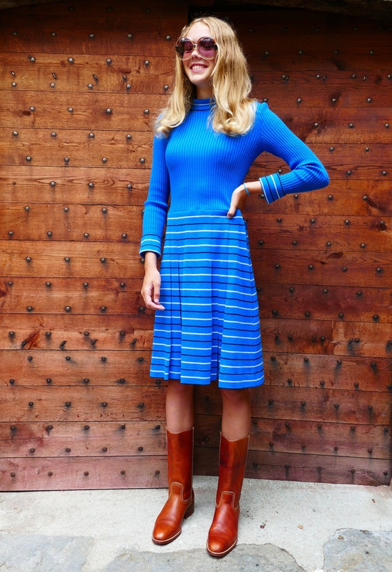 """Striped """"skater"""" wool dress in the 70s"""