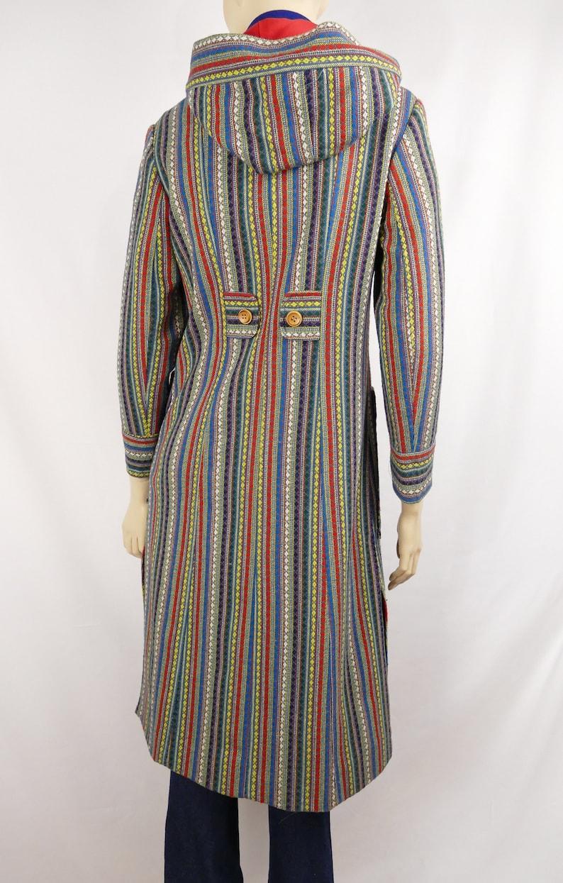 70s vintage woven wool hooded coat