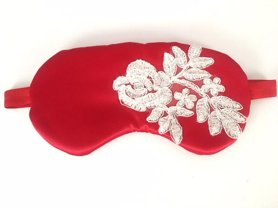 Red Satin Sleep Mask with White Lace Silk Sleep Blindfold Gift Under 50 Gift for Her