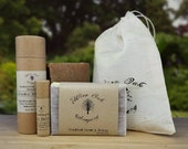 Bath Body Gift Set with 4.5 oz Oat and Honey bar soap, Peppermint lip balm, and Lavender body balm with muslin gift bag