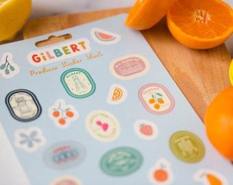 Gilbert Arizona Fruit Stickers Produce Sticker Sheet