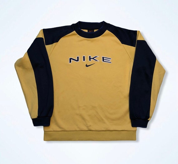 Vintage Nike 1990s Yellow/Navy Spellout Embroidere
