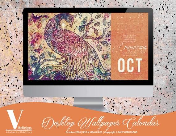October 2020 Desktop Wallpaper Calendar Digital Calendar Etsy