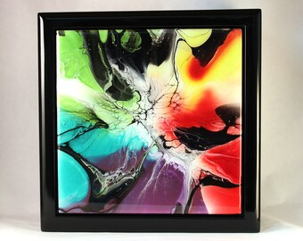 fluid acrylic Ocean Depths perfect gift Fluid acrylic decorative Jewelry Trinket Dice Box