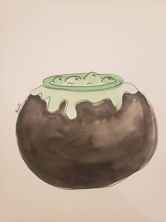 Bubbling cauldron watercolor