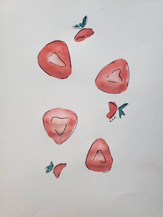 Half strawberries watercolor and marker
