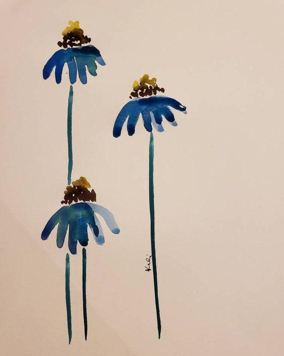 Blue coneflower watercolor