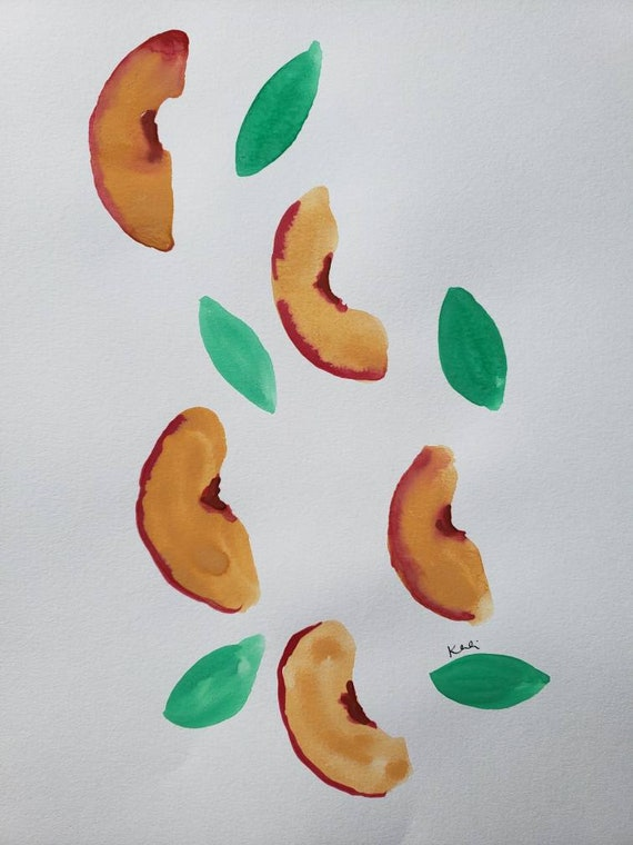 Peach slices watercolor