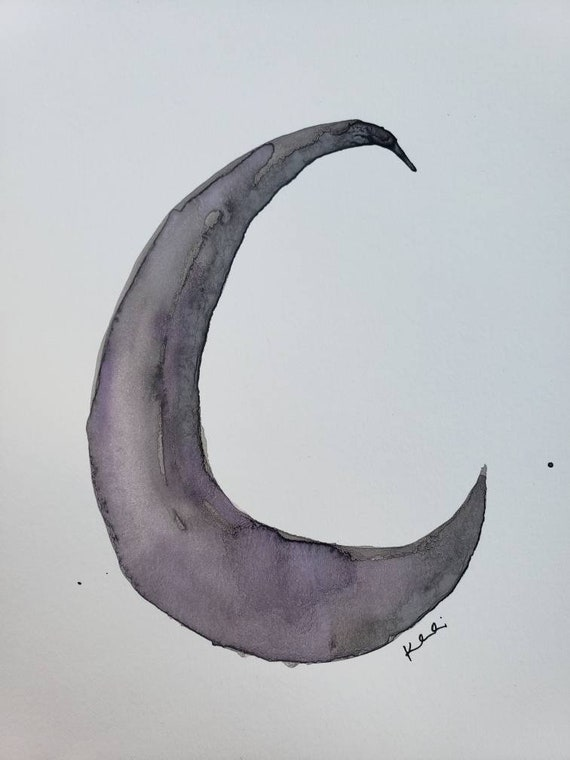 Crescent moon watercolor painting
