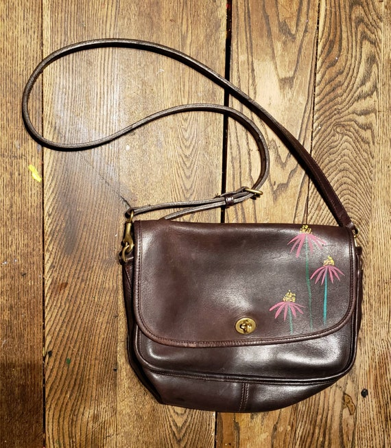 Vintage coach crossbody with hand painted cone flowers