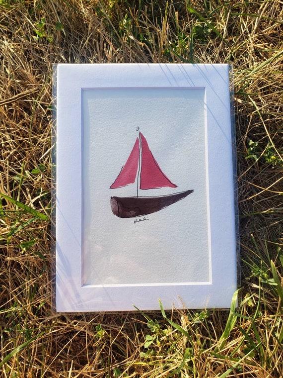 Small sailboat watercolor painting