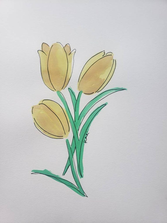 Yellow tulip watercolor