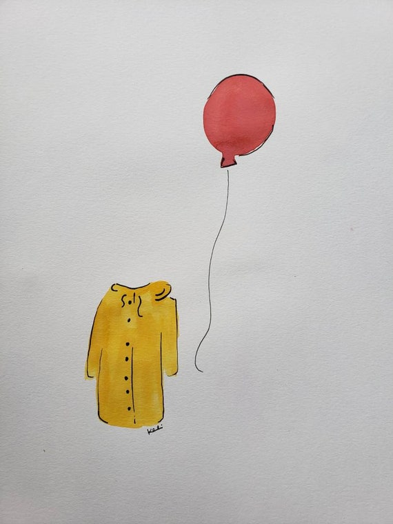 Red balloon and yellow raincoat