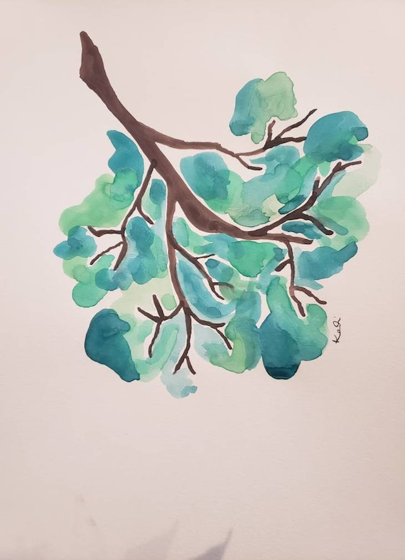 Tree branch watercolor