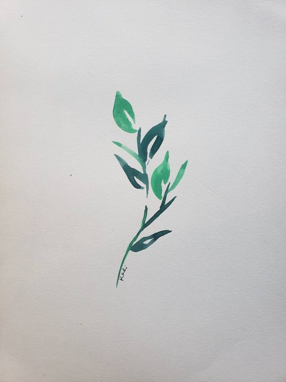 Set of 2 green leaf watercolor