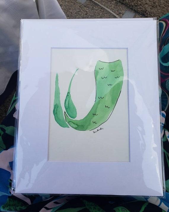 Mermaid tail watercolor painting