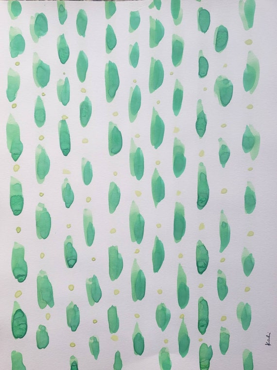 Green lines and yellow dots watercolor