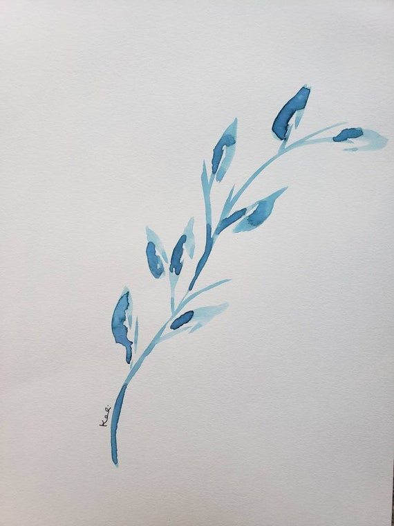 Set of 2 blue leaf watercolor