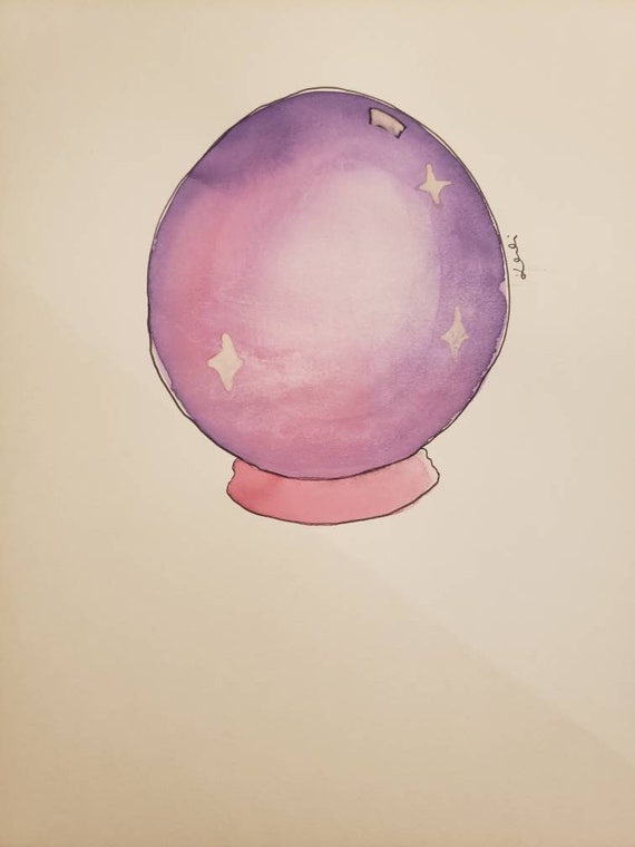 Psychic magic crystal ball watercolor