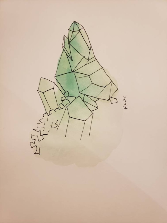 Green crystal cluster watercolor