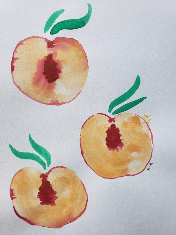 Peach half watercolor