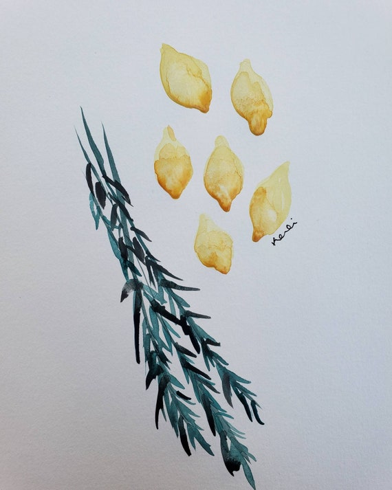 Lemon and rosemary watercolor painting