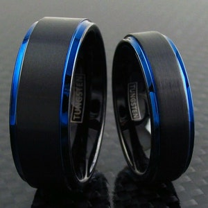 Comfort Fit Black Band Thin Blue Line Ring Men/'s Women/'s Tungsten Wedding Band Size 5-15 6mm 8mm Personalized Engraving Police Gift
