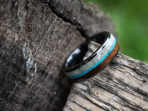 Deer Antler Men's Band | Turquoise Koa Wood Dark Gray Ceramic Men's Women's Wedding Ring | 8mm Band | Personalized Engraved Custom Jewelry