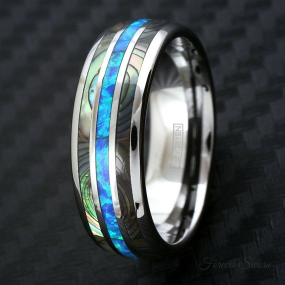 Abalone Shell Blue Opal Silver Tungsten Ring   Men's Women's Wedding Band   8mm Size 9-13 Comfort Fit   Hawaiian Personalized Engraving Gift